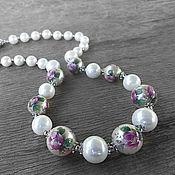 Necklace handmade. Livemaster - original item Beads of Tensha and Majorica in silver. Handmade.