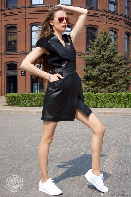e1d9a64a08bd563 Платье на запах кожа натуральная – купить в интернет-магазине на ...