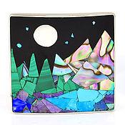 Украшения handmade. Livemaster - original item BROOCH Mountains, lake, forest, night. Unique brooch with natural stones.. Handmade.