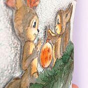 Открытки ручной работы. Ярмарка Мастеров - ручная работа Открытка на Новый год Белочки. Handmade.
