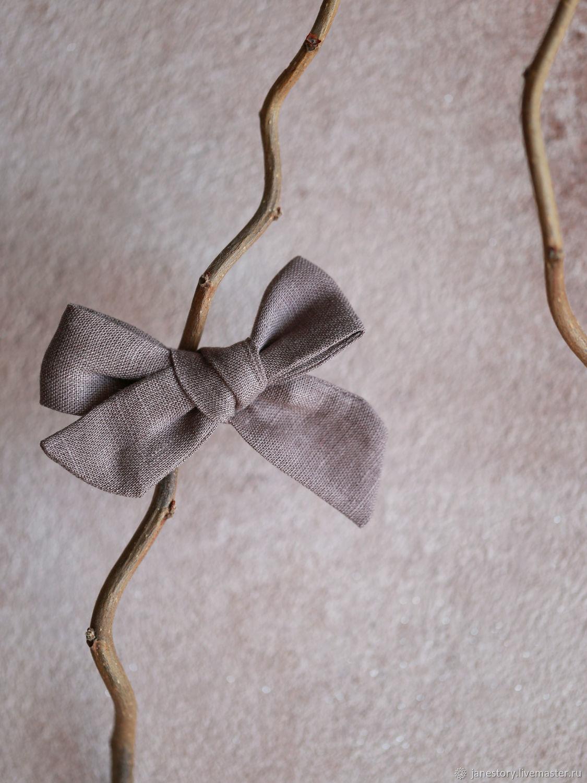 Льняной бантик для волос на зажиме Какао, Заколки и резинки для волос, Москва,  Фото №1