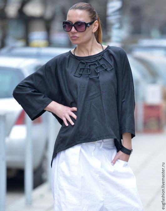 Черная блузка. Блузка из льна. Блузка. Лен. Ручная работа. Блузка.