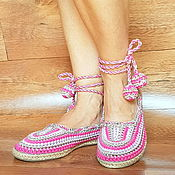 Обувь ручной работы handmade. Livemaster - original item Knitted ballerinas Summer in full swing, pink cotton, p. .37. Handmade.
