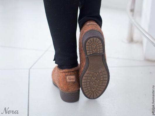Обувь ручной работы. Ярмарка Мастеров - ручная работа. Купить Валяные полуботинки осенний лист. Handmade. Рыжий, Валяние