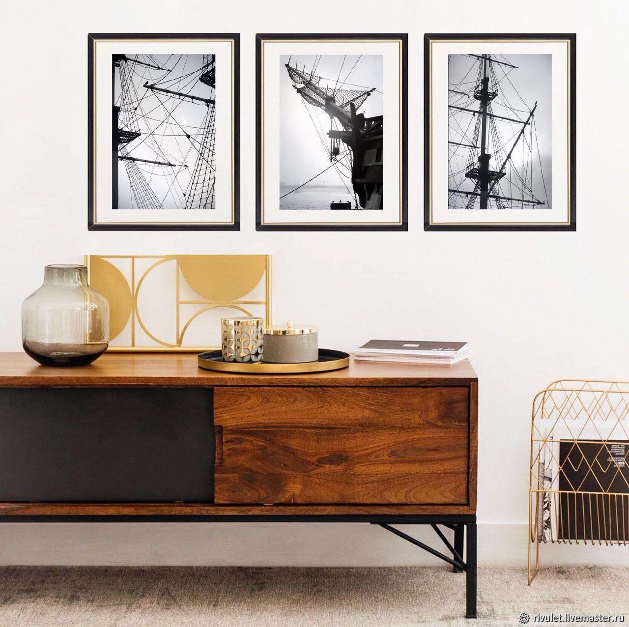 Черно-белые фотографии для интерьера, Корабли Триптих Фотокартины, Фотокартины, Москва,  Фото №1
