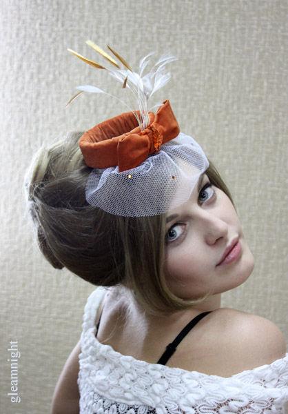 Шляпы ручной работы. Ярмарка Мастеров - ручная работа. Купить Вельветовая шляпка. Handmade. Шляпки, оранжевый, перья