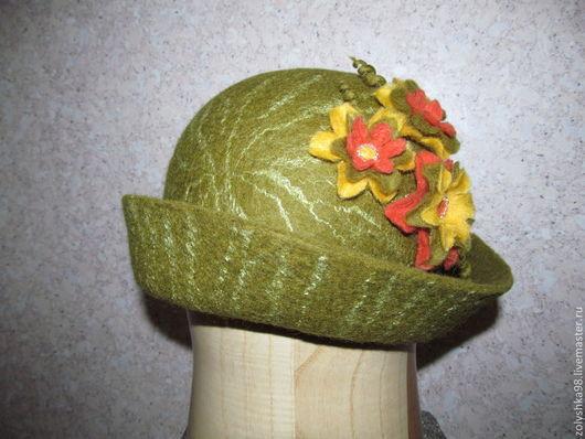 """Этническая одежда ручной работы. Ярмарка Мастеров - ручная работа. Купить Валяная шляпка """"Весенняя поляна"""". Handmade. Валяная, шляпка"""