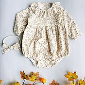 Работы для детей, handmade. Livemaster - original item Cotton Romper for girls. Handmade.