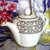 """Посуда ручной работы. Ярмарка Мастеров - ручная работа Заварочный чайник фарфоровый """"Трапеция"""". Серия Чайная посуда. Handmade."""
