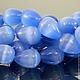Бусины из имитации натурального камня кошачий глаз синего цвета формы капля