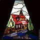Торшер «Старый город», Тиффани, стекло, D – 63 см, 630 деталей. Фрагмент.