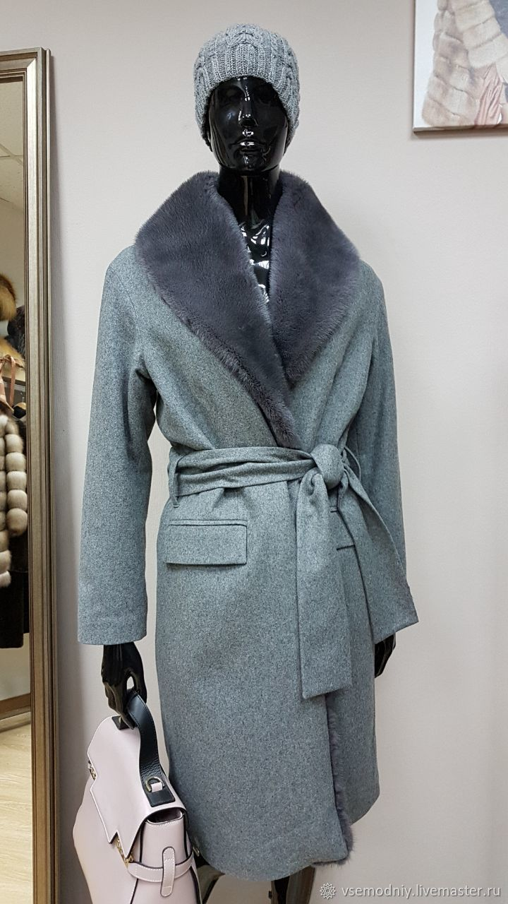 Пальто зимнее серое с мехом норки – купить в интернет-магазине на ... 89776a1e6eb2a