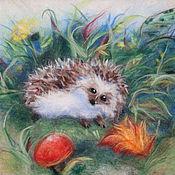 Картины и панно handmade. Livemaster - original item Watercolor wool Hedgehog. Handmade.