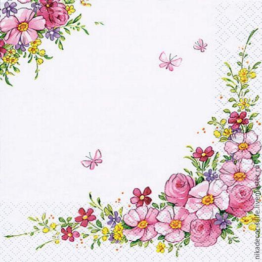 Декупаж и роспись ручной работы. Ярмарка Мастеров - ручная работа. Купить Милые цветы (211350) - 33х33 салфетка для декупажа. Handmade.