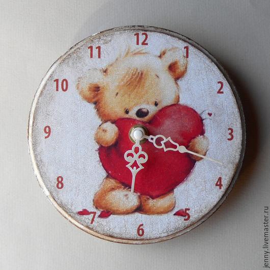 """Часы для дома ручной работы. Ярмарка Мастеров - ручная работа. Купить Часики """"Мишка"""". Handmade. Мишки, детская, часы"""