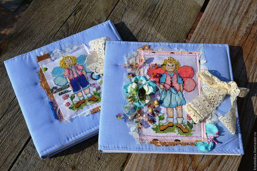 Фотоальбомы ручной работы. Ярмарка Мастеров - ручная работа. Купить Фотоальбомы  для Двойни. Handmade. Голубой, подарок для ребенка, вышивка