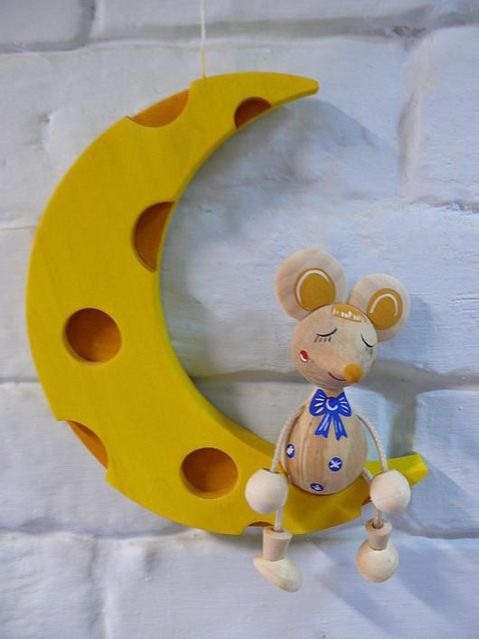 """Детская ручной работы. Ярмарка Мастеров - ручная работа. Купить подвеска """"мышка на луне"""". Handmade. Подвеска, лак"""