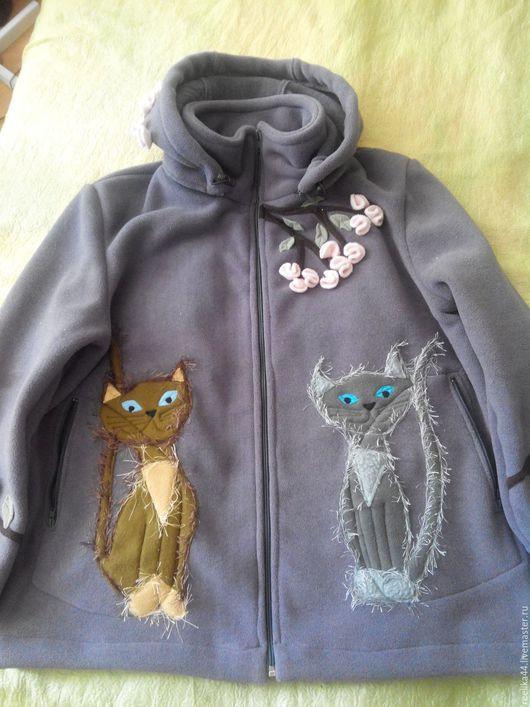 """Верхняя одежда ручной работы. Ярмарка Мастеров - ручная работа. Купить Куртка из полартека """" Сакура и кошки весной"""". Handmade."""