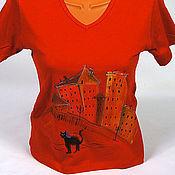 """Одежда ручной работы. Ярмарка Мастеров - ручная работа Футболка """"Городской кот"""". Handmade."""