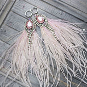 Украшения handmade. Livemaster - original item Pink feather earrings. Delicate earrings with ostrich feathers. Handmade.