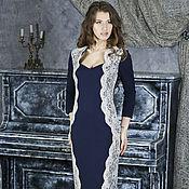 Одежда ручной работы. Ярмарка Мастеров - ручная работа 046-1: Вечернее платье футляр из джерси, платье с кружевом. Handmade.