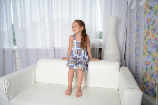Одежда для девочек, ручной работы. Ярмарка Мастеров - ручная работа. Купить Сарафан из шелка а-ля Dolce & Gabbana. Handmade.