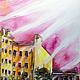 """Город ручной работы. Ярмарка Мастеров - ручная работа. Купить Картина """"Игра света и тени"""". Handmade. Розовый, городской пейзаж"""
