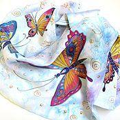 """Шарфы ручной работы. Ярмарка Мастеров - ручная работа Батик шарф """"Легкокрылые бабочки"""". Handmade."""