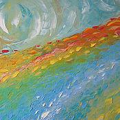"""Картины и панно ручной работы. Ярмарка Мастеров - ручная работа """"Sunrise"""" 65х65 см картина маслом мастихином пейзаж деревенский. Handmade."""