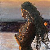 Картины и панно handmade. Livemaster - original item Pictures: Margarita longs for the Master. Naked woman at sunset.. Handmade.