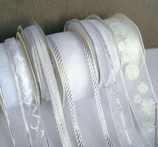 """Упаковка ручной работы. Ярмарка Мастеров - ручная работа. Купить ленты """"Белые с серебром"""". Handmade. Лента декоративная, лента для декора"""
