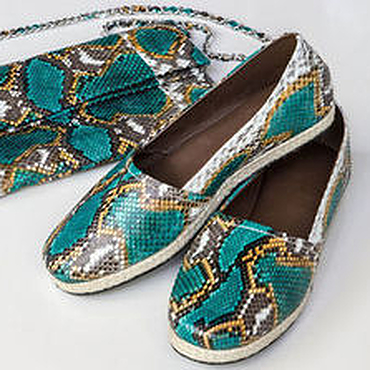 Обувь ручной работы. Ярмарка Мастеров - ручная работа Эспадрильи из натуральной кожи питона. Handmade.