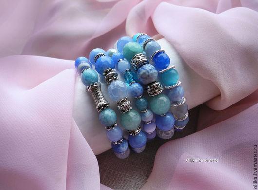 Браслеты Какое небо голубое! Цена комплекта 450х2 + 350х2 + 300 = 1900 руб. женский браслет, комплект браслетов, браслет на спандексе, браслеты на резинке, браслет на резинке, голубой браслет с камнями, крупный браслет, пышный браслет, браслет и серьги купить, СЕРЬГИ В ПОДАРОК, ПОДАРОК ПРИ ПОКУПКЕ, браслеты, браслеты из камней, браслет на руку, недорогой подарок, подарок недорого, ollika ольга дмитриева, ollika handmade, летний браслет, голубой браслет
