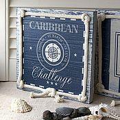 """Картины и панно ручной работы. Ярмарка Мастеров - ручная работа панно """"Карибское море. Компас"""". Handmade."""