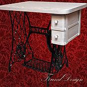 Для дома и интерьера ручной работы. Ярмарка Мастеров - ручная работа Белый винтажный столик с ящичками на станине Singer. Handmade.