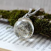 Украшения handmade. Livemaster - original item Transparent jewelry set (earrings, pendant) with a real dandelion. Handmade.