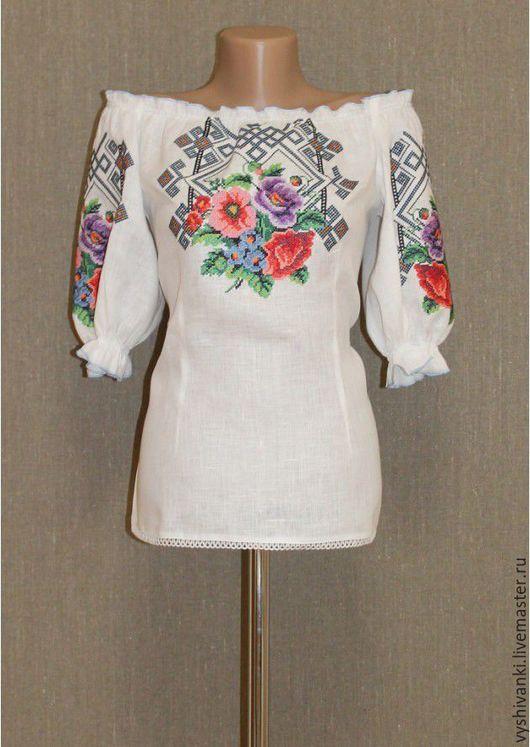 """Этническая одежда ручной работы. Ярмарка Мастеров - ручная работа. Купить Женская вышиванка """"Фиалки"""" подарок для себя. Handmade. Белый"""