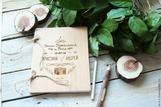 Свадебные фотоальбомы ручной работы. Ярмарка Мастеров - ручная работа. Купить Фотоальбом с пожеланиями. Handmade. Бежевый, подарки, юбилей, мдф