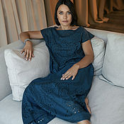 Одежда handmade. Livemaster - original item Blue silk dress with perforation. Handmade.