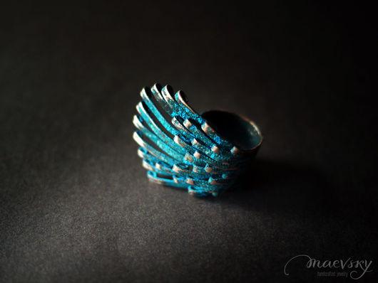 """Кольца ручной работы. Ярмарка Мастеров - ручная работа. Купить Медное кольцо """"Музыка ветра"""", украшение, медь, синяя патина. Handmade."""