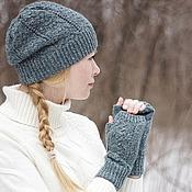 Аксессуары ручной работы. Ярмарка Мастеров - ручная работа Комплект шапка и митенки Green tweed. Handmade.