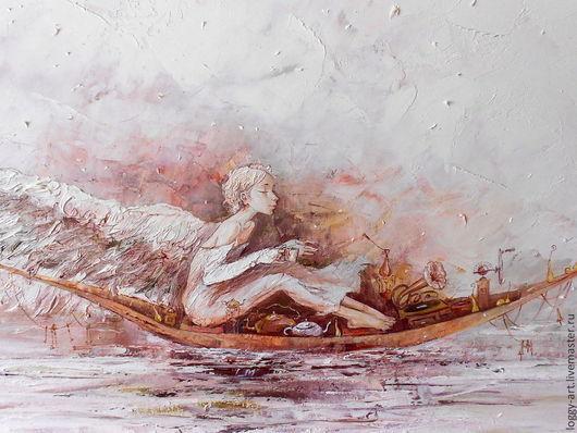 """Символизм ручной работы. Ярмарка Мастеров - ручная работа. Купить """"Сон"""". Handmade. Ангел, картина в раме, зима, дерево"""