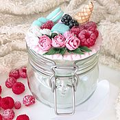 Банки ручной работы. Ярмарка Мастеров - ручная работа Вкусная банка с декором из полимерной глины Пионы, мороженое  и малина. Handmade.