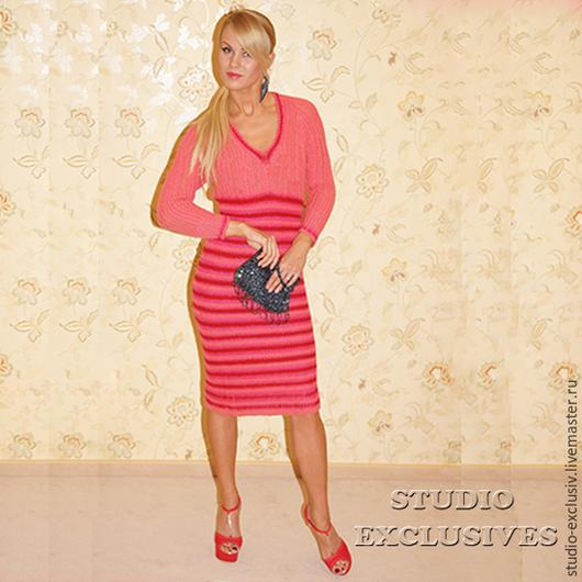 Платья ручной работы. Ярмарка Мастеров - ручная работа. Купить Полосатое платье с коралловой кокеткой. Handmade. Коралловый, платье