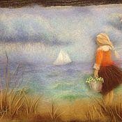 Картины и панно ручной работы. Ярмарка Мастеров - ручная работа девочка у моря. Handmade.