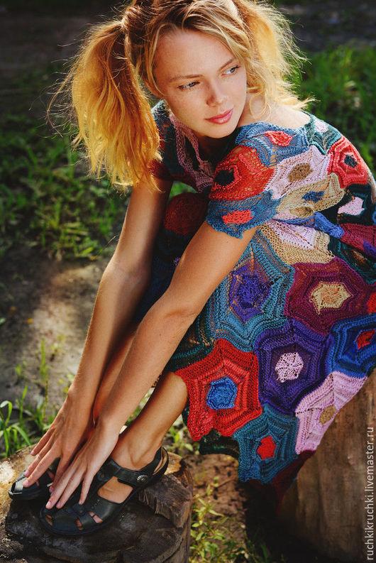"""Платья ручной работы. Ярмарка Мастеров - ручная работа. Купить Платье """"Яркая мозаика"""" спицами из хлопка/полиамида. Handmade. Бордовый"""