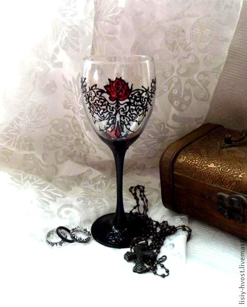 """Бокалы, стаканы ручной работы. Ярмарка Мастеров - ручная работа. Купить бокал для вина  """"Красная роза"""". Handmade. Черный, пламя"""