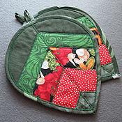 """Для дома и интерьера ручной работы. Ярмарка Мастеров - ручная работа Прихватки """"Листики"""" в зелёной гамме. Handmade."""