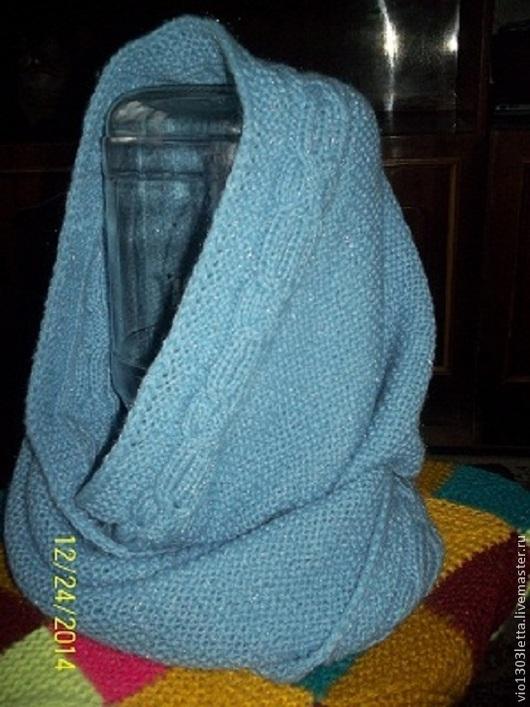 """Шарфы и шарфики ручной работы. Ярмарка Мастеров - ручная работа. Купить Шарф-снуд """"Голубая метель"""". Handmade. Голубой, спицы"""
