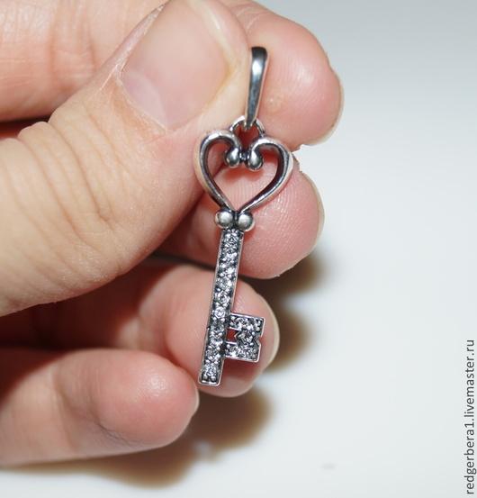 Для украшений ручной работы. Ярмарка Мастеров - ручная работа. Купить Подвеска ключик -  мельхиор с серебрением 925 пробы. Handmade.